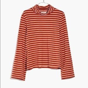 Madewell Top Wide-Sleeve Turtleneck Striped Cotton